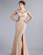 Trumpet/Mermaid Off-the-Shoulder Sweep Train Chiffon Evening Dress With Beading Split Front (017022796)
