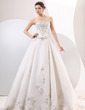 Ball-Gown Strapless Chapel Train Satin Organza Wedding Dress With Embroidered Beading (002014060)