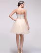 Empire Sweetheart Knee-Length Tulle Homecoming Dress With Ruffle Beading Sequins (022016085)