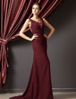 A-Line/Princess Square Neckline Sweep Train Chiffon Mother of the Bride Dress With Ruffle Beading (008014254)