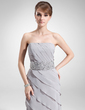 A-Line/Princess Strapless Floor-Length Chiffon Mother of the Bride Dress With Beading Sequins Cascading Ruffles (008006473)