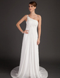 A-Line/Princess One-Shoulder Court Train Chiffon Wedding Dress With Ruffle Beading Flower(s) (002015501)