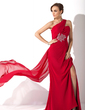 Trumpet/Mermaid One-Shoulder Watteau Train Chiffon Mother of the Bride Dress With Ruffle Beading (008006239)