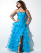 A-Line/Princess Sweetheart Floor-Length Organza Prom Dress With Ruffle Beading Split Front Cascading Ruffles (018002474)