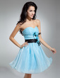 A-Line/Princess Sweetheart Short/Mini Organza Cocktail Dress With Ruffle Sash Feather Flower(s) (016014912)