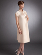 A-Line/Princess High Neck Knee-Length Satin Maternity Bridesmaid Dress With Ruffle (045004380)