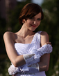 Elastic Satin Elbow Length Bridal Gloves (014005533)