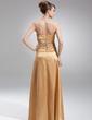 Çan/Prenses Askısız Uzun Etekli Charmeuse Gelin Annesi Elbisesi Ile Büzgü Boncuklama Çiçek(ler) Pullarda (008005709)