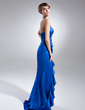 Sheath/Column Halter Asymmetrical Charmeuse Prom Dress With Beading (018015640)
