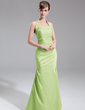 A-Line/Princess Halter Floor-Length Taffeta Bridesmaid Dress With Ruffle (007001857)