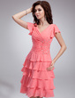 A-Line/Princess V-neck Knee-Length Chiffon Bridesmaid Dress With Beading Cascading Ruffles (022011119)