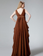 Empire V-neck Floor-Length Chiffon Evening Dress With Ruffle (017012863)