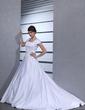 Balo Elbisesi Kare Yaka Şapel Kuyruk Satin Gelinlik Ile Boncuklama (002001629)