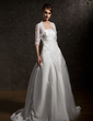 A-Line/Princess Strapless Court Train Satin Wedding Dress With Ruffle Lace Beading (002011534)