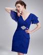 A-Line/Princess V-neck Knee-Length Chiffon Cocktail Dress With Beading Sequins Cascading Ruffles (016021248)