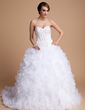 Ball-Gown Sweetheart Chapel Train Satin Organza Wedding Dress With Beading Sequins Cascading Ruffles (002011996)