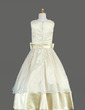 Ball Gown Tea-length Flower Girl Dress - Organza/Charmeuse Sleeveless V-neck With Sash/Bow(s) (010014636)