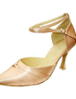 Women's Satin Heels Pumps Modern With Ankle Strap Dance Shoes (053013156)