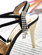 Suede Stiletto Heel Sandals With Rhinestone shoes (087023582)