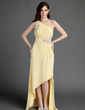 A-Line/Princess One-Shoulder Asymmetrical Chiffon Holiday Dress With Ruffle Beading Appliques Lace (020015683)