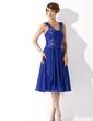 Çan/Prenses Kalp Kesimli Diz Hizası Chiffon Mezunlar Gecesi Elbisesi Ile Büzgü Boncuklama Aplike (022010130)