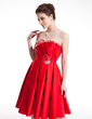 A-Line/Princess Sweetheart Knee-Length Satin Homecoming Dress With Ruffle Beading (022008976)