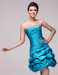 A-Line/Princess Strapless Knee-Length Taffeta Cocktail Dress With Ruffle Beading (016016047)