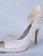 Women's Satin Cone Heel Peep Toe Platform Sandals With Beading Rhinestone (047024172)