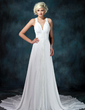 A-Line/Princess V-neck Chapel Train Chiffon Wedding Dress With Ruffle Beadwork Appliques (002001675)