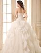 Balklänning Hjärtformad Golvlång Satäng Organzapåse Bröllopsklänning med Pärlbrodering Applikationer Spetsar Svallande Krås (002026595)