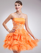 A-Line/Princess Sweetheart Short/Mini Organza Homecoming Dress With Beading Cascading Ruffles (022009615)