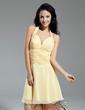 Çan/Prenses Yular Diz Hizası Chiffon Mezunlar Gecesi Elbisesi Ile Büzgü Boncuklama (022014971)