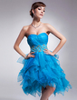 A-Line/Princess Sweetheart Knee-Length Organza Homecoming Dress With Beading Cascading Ruffles (022010790)