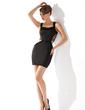 Sheath/Column Scoop Neck Short/Mini Satin Cocktail Dress (016021179)