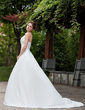 A-Line/Princess V-neck Cathedral Train Taffeta Wedding Dress With Ruffle Lace Beading (002026583)