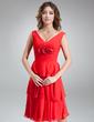 Forme Princesse Col V Longueur genou Mousseline Robe de demoiselle d'honneur avec Plissé Fleur(s) (007000938)