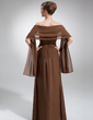 Sheath/Column Sweetheart Floor-Length Chiffon Bridesmaid Dress With Ruffle (007000989)