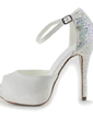 Women's Satin Stiletto Heel Peep Toe Platform Sandals With Rhinestone (047010804)