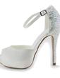 Dla kobiet Satin Szpilki Peep Toe Platforma Sandały Z Rhinestone (047010804)