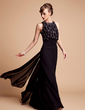 A-Line/Princess Scoop Neck Floor-Length Chiffon Mother of the Bride Dress With Beading (008006445)
