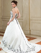 A-Line/Princess Halter Court Train Satin Wedding Dress With Embroidered (002011700)