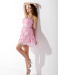 A-Line/Princess Sweetheart Short/Mini Taffeta Homecoming Dress With Beading Flower(s) Bow(s) (022021018)