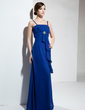 Empire Floor-Length Chiffon Bridesmaid Dress With Crystal Brooch Cascading Ruffles (007001118)