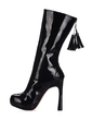 Patent Leather Chunky Heel Platform Mid-Calf Boots With Tassel shoes (088016965)