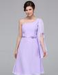 A-Line/Princess One-Shoulder Knee-Length Chiffon Bridesmaid Dress (007037217)
