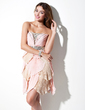 A-Line/Princess Scalloped Neck Short/Mini Chiffon Homecoming Dress With Beading Pleated (022009853)