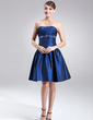 A-Line/Princess Strapless Knee-Length Taffeta Cocktail Dress With Ruffle Beading (016002424)