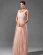 A-Line/Princess Sweetheart Floor-Length Chiffon Prom Dress With Beading Pleated (018005043)