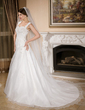 A-Line/Princess Sweetheart Chapel Train Satin Organza Wedding Dress With Ruffle Beading Appliques Lace (002000597)