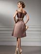 Çan/Prenses Off-Omuz Diz Hizası Satin Nedime Elbisesi Ile Kuşaklar (007004990)
